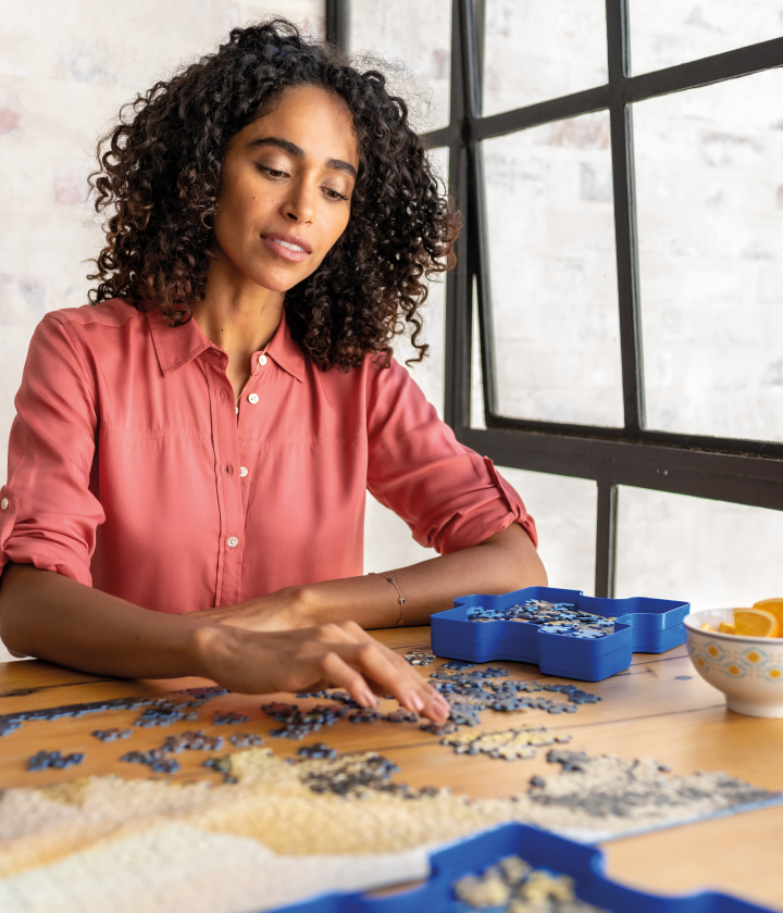 Woman doing a puzzle